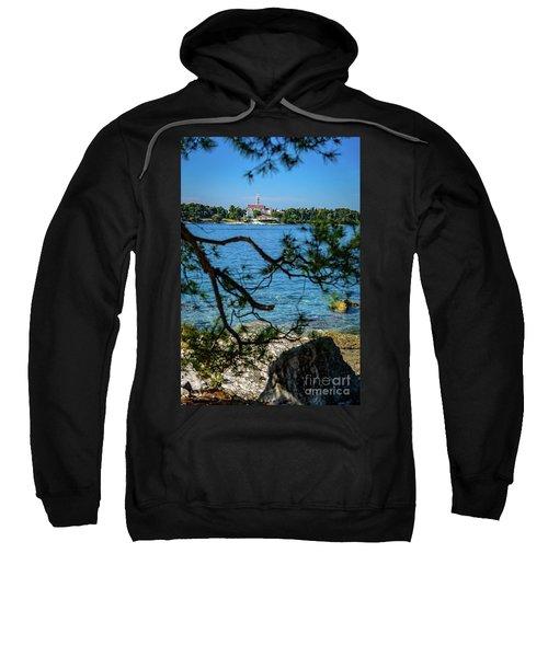Rovinj Seaside Through The Adriatic Trees, Istria, Croatia Sweatshirt