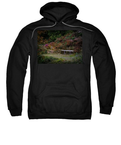 Sweatshirt featuring the photograph Rustic Bench In The Autumn Irish Countryside by James Truett