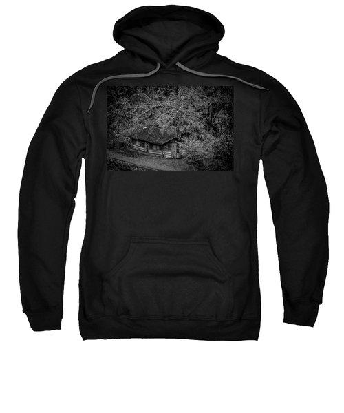 Rustic Log Cabin In Black And White Sweatshirt