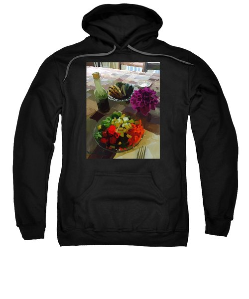Salad And Dressing With Squash And Dahlia Sweatshirt