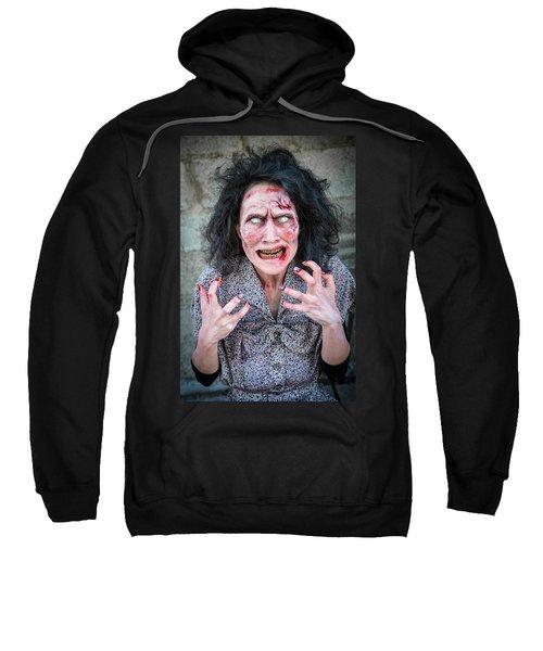 Scary Angry Zombie Woman Sweatshirt