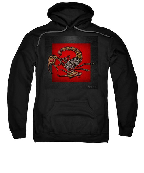 Scorpion On Red And Black  Sweatshirt by Serge Averbukh