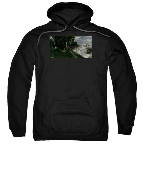 Sweatshirt featuring the painting Seaside Cemetery by Celestial Images