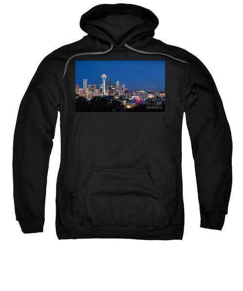 Sweatshirt featuring the photograph Seattle Twight by Peter Simmons