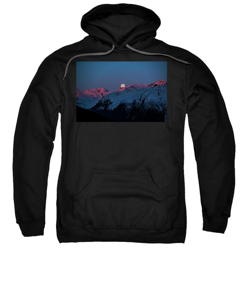 Setting Moon Over Alaskan Peaks Iv Sweatshirt