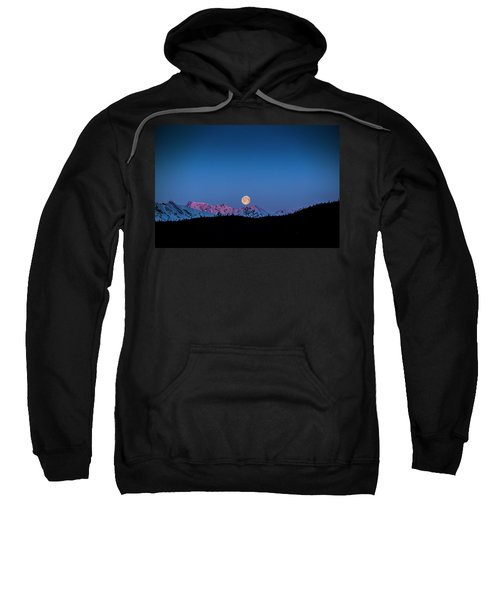 Setting Moon Over Alaskan Peaks Sweatshirt