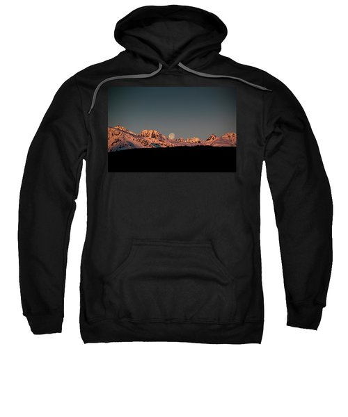Setting Moon Over Alaskan Peaks V Sweatshirt