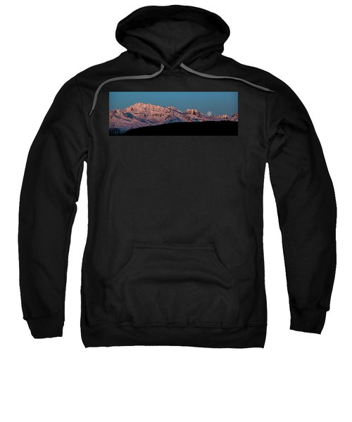 Setting Moon Over Alaskan Peaks Vi Sweatshirt