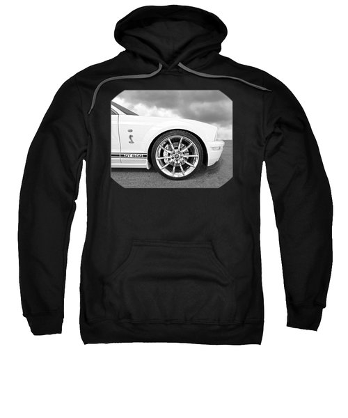 Shelby Gt500 Wheel Black And White Sweatshirt by Gill Billington