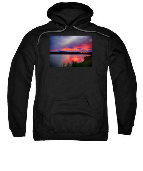 Sweatshirt featuring the photograph Shelf Cloud At Sunset by Bill Barber