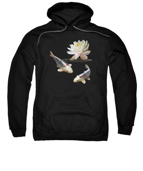 Silver And Red Koi With Water Lily Vertical Sweatshirt by Gill Billington