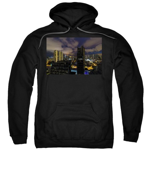 Singapore Cityscape On A Cloudy Night Sweatshirt