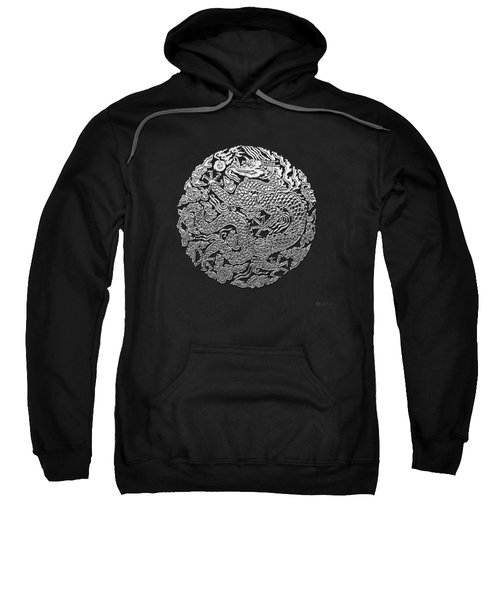 Sliver Chinese Dragon On Black Leather Sweatshirt by Serge Averbukh