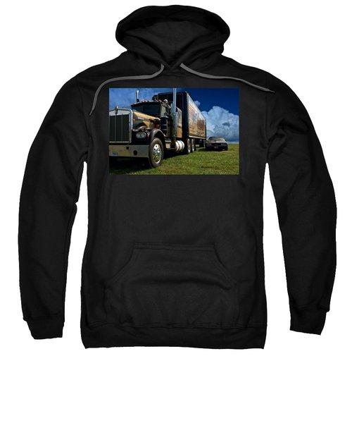 Smokey And The Bandit Tribute 1973 Kenworth W900 Black And Gold Semi Truck And The Bandit Transam Sweatshirt