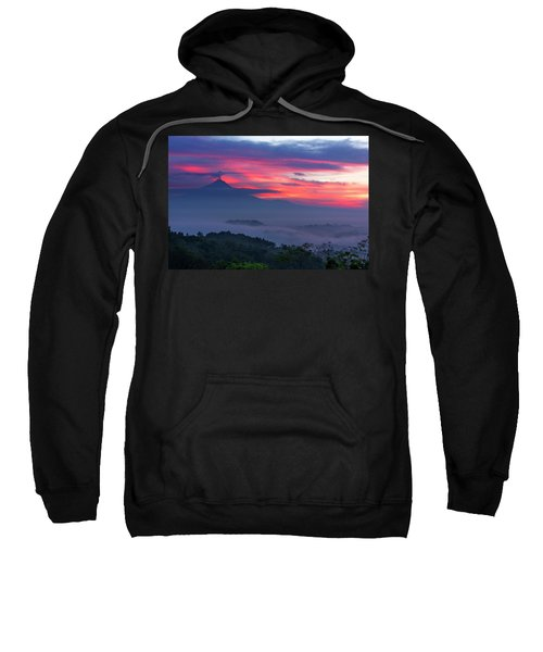 Smoking Volcano And Borobudur Temple Sweatshirt