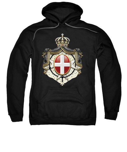 Sovereign Military Order Of Malta Coat Of Arms Over Black Velvet Sweatshirt