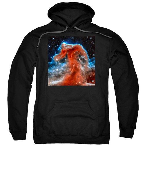 Space Image Horsehead Nebula Orange Red Blue Black Sweatshirt by Matthias Hauser