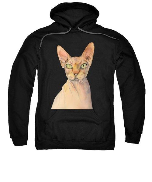 Sphynx Cat Watercolor Portrait Sweatshirt