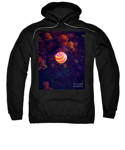 Spiral Colored Hot Air Balloon Over Fall Tree Tops Mchenry   Sweatshirt