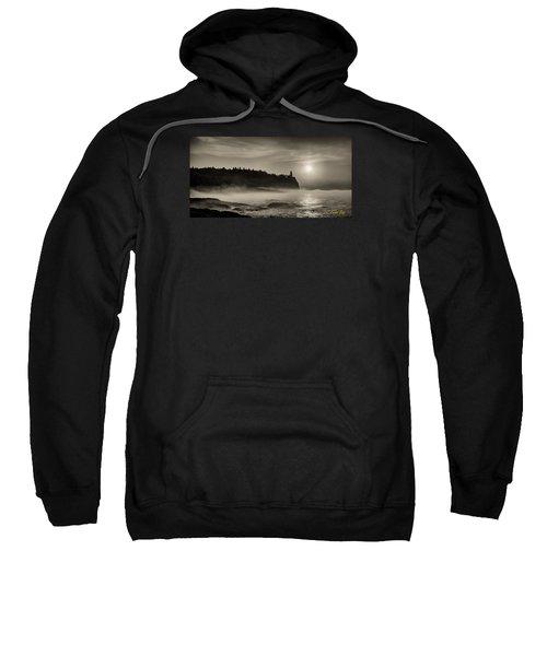 Split Rock Lighthouse Emerging Fog Sweatshirt by Rikk Flohr