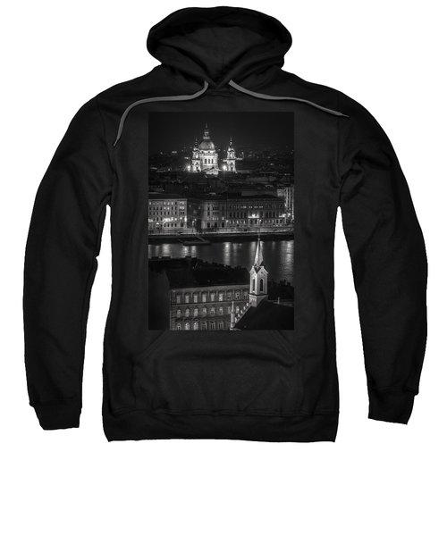 St Stephens Basilica Night Bw Sweatshirt