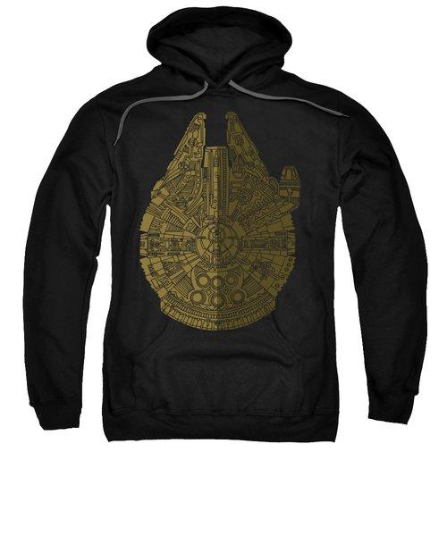 Star Wars Art - Millennium Falcon - Black, Brown Sweatshirt by Studio Grafiikka