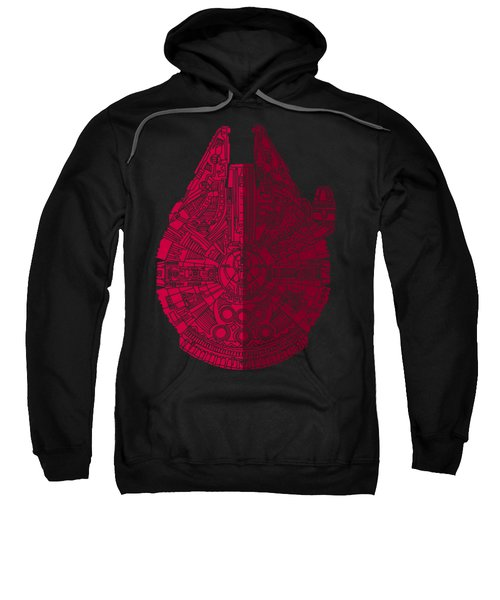 Star Wars Art - Millennium Falcon - Red, Black Sweatshirt by Studio Grafiikka