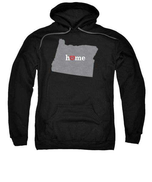 State Map Outline Oregon With Heart In Home Sweatshirt by Elaine Plesser