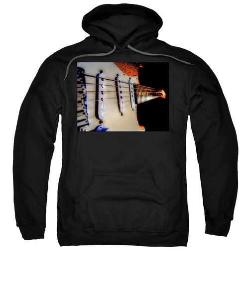 Sweatshirt featuring the photograph Stratocaster Pop Art Tangerine Sparkle Fire Neck Series by Guitar Wacky