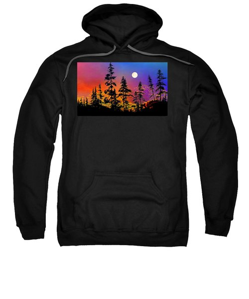 Sweatshirt featuring the painting Strawberry Moon Sunset by Hanne Lore Koehler