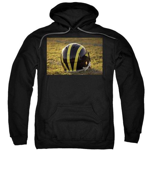 Striped Wolverine Helmet On The Field At Dawn Sweatshirt