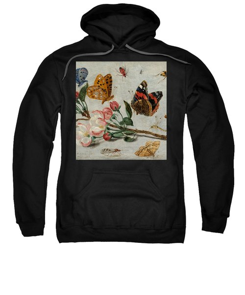 Study Of Butterflies And Other Insects With A Sprig Of Apple Blossom Sweatshirt