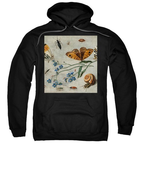 Study Of Insects, Butterflies And A Snail With A Sprig Of Forget-me-nots Sweatshirt