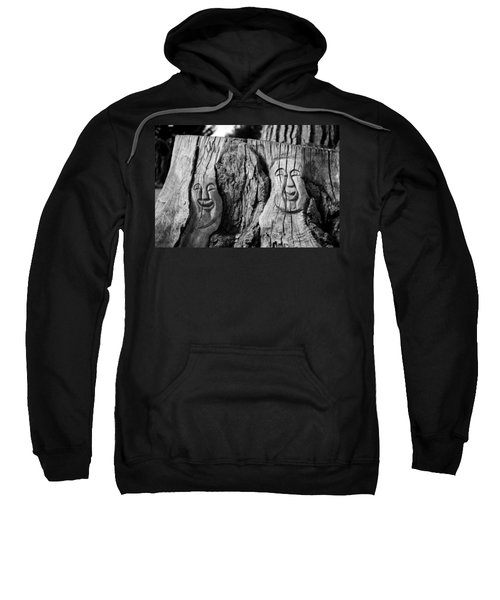 Sweatshirt featuring the photograph Stump Faces 2 by Stephen Holst