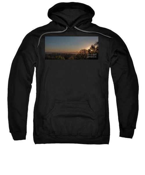Sunset Behind Tree With Forest And Mountains In The Background Sweatshirt