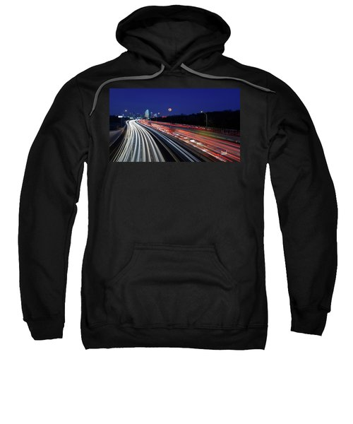 Super Moon And Dallas Texas Skyline Sweatshirt