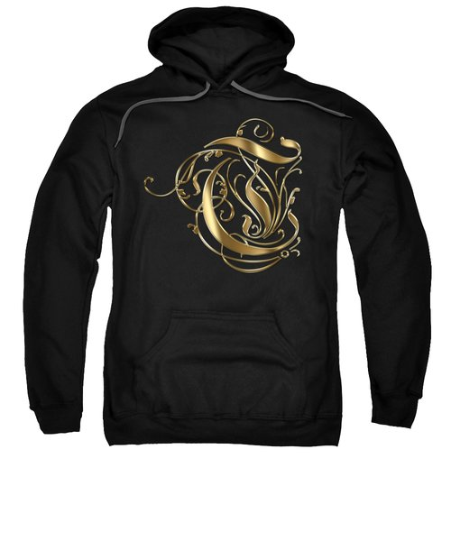 T Golden Ornamental Letter Typography Sweatshirt
