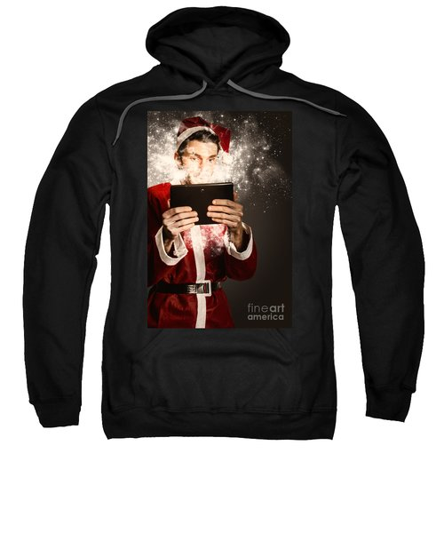 Tech Santa Browsing Online With Magical Tablet Sweatshirt
