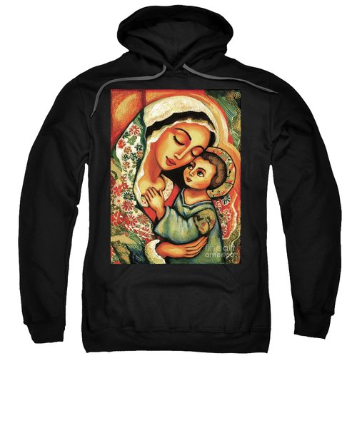 Sweatshirt featuring the painting The Blessed Mother by Eva Campbell