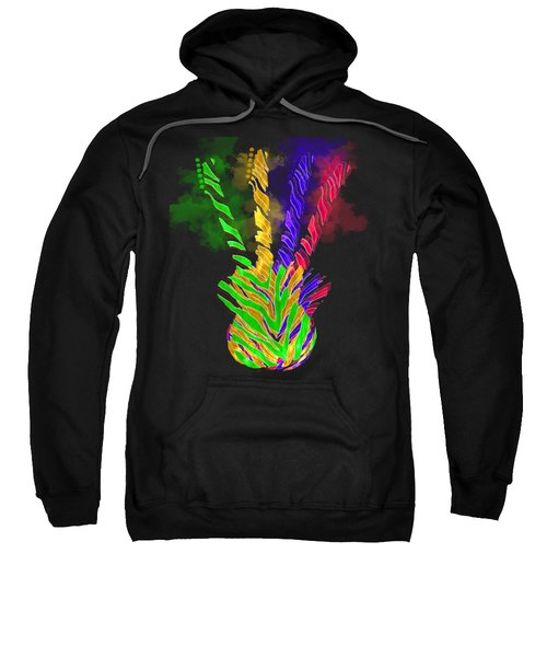 Sweatshirt featuring the digital art The Four Guitars by Guitar Wacky