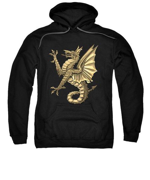 The Great Dragon Spirits - Gold Sea Dragon Over Black Canvas Sweatshirt