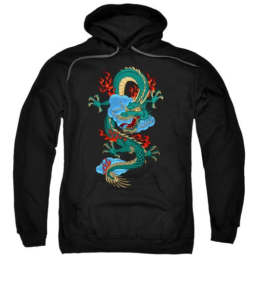 The Great Dragon Spirits - Turquoise Dragon On Black Silk Sweatshirt