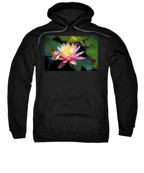 The Grutas Water Lillie With Hummingbirds Sweatshirt