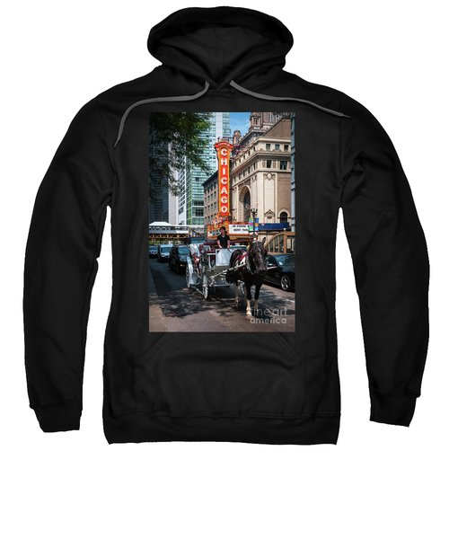 The Iconic Chicago Theater Sign And Traffic On State Street Sweatshirt