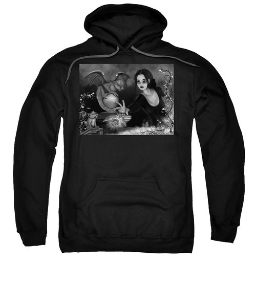 The Magic Rose - Black And White Fantasy Art Sweatshirt