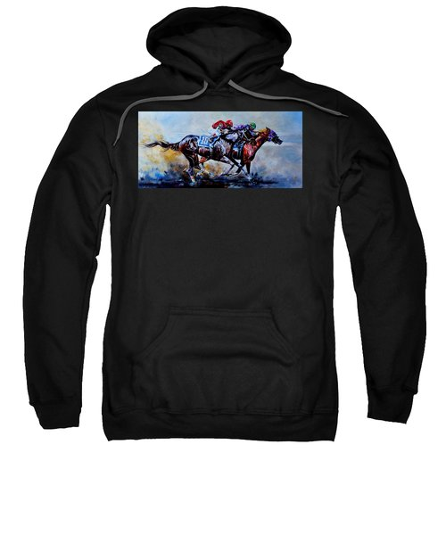 Sweatshirt featuring the painting The Preakness Stakes by Hanne Lore Koehler