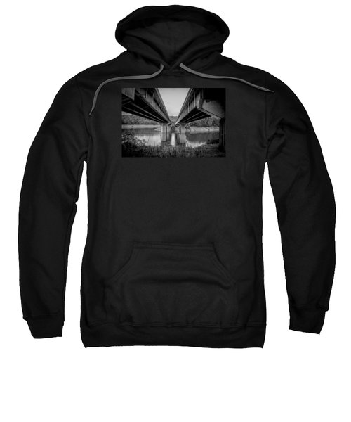 The Underside Of Two Bridges Symmetry In Black And White Sweatshirt
