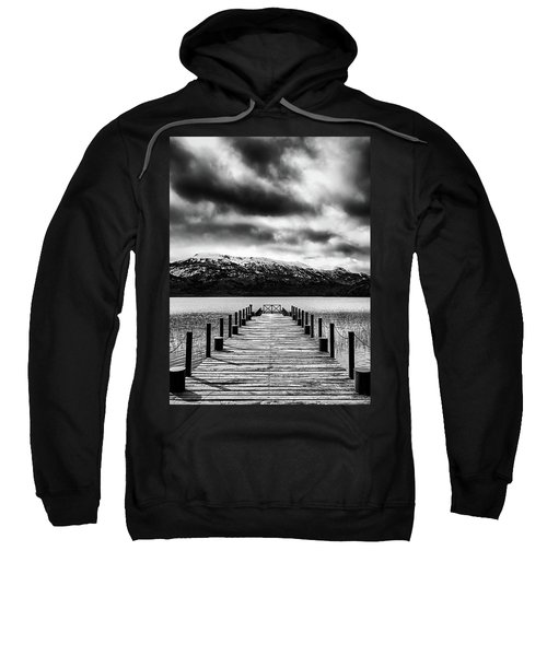 Landscape With Lake And Snowy Mountains In The Argentine Patagonia - Black And White Sweatshirt
