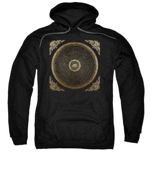 Tibetan Thangka - Green Tara Goddess Mandala With Mantra In Gold On Black Sweatshirt