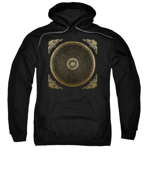 Tibetan Thangka - Green Tara Goddess Mandala With Mantra In Gold On Black Sweatshirt